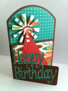 Cricut Tri-Fold Birthday Card. Wild Card and Celebrations Cartridges.  *