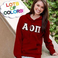 Alpha Omicron Pi Ladies' Enza Pullover Hoodie $40.95 #Greek #Sorority #Clothing #AOPi #AOII #AlphaOmicronPi #LotsOfColors pullov hoodi, lotsofcolor, enza, 4095, shops, alpha, greek soror, soror cloth, phi