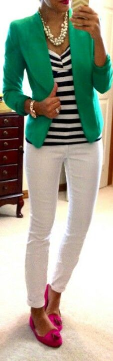 an excellent Spring/Summer casual office day outfit. Love the green and hot pink mixed with the stripes and white pants!! Bam!
