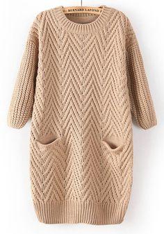 Nude Plain Pockets Round Neck Straight Cotton Sweater