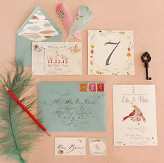 Love bird wedding stationary