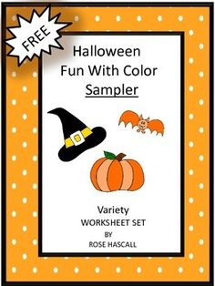 """FREE-With this Sampler you will receive three (3) worksheets from my Halloween Fun With Color Variety Worksheet Set.. The Full version of Halloween Fun With Colors Variety Worksheet set contains 26 pages.   Enjoy this Sampler with your students. All I ask in return is to please click on the ★ above to """"Follow Me"""" to receive updates on new products and free downloads. Thank you, Rose."""