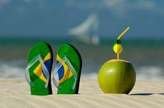 brazil, world cup, rio de janeiro, at the beach, flip flops, beach time, place, coconut water, brasil