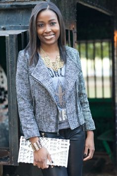 Chic Game Day Style featuring silver clutch and leather pants from @marshalls