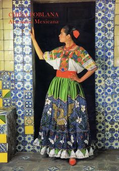 """China Poblana"" dress; traditional dress from the state of Puebla, Mexico - for more of Mexico visit www.mainlymexican... #Mexico #Mexican #women #fashion #costume #dress"