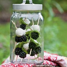 Use any combination of your favorite summer berries and arrange them on skewers with small mozzarella balls and basil.