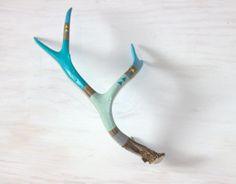 Painted Antler - Aqua, Sky Blue  Triangle Arrows, Hand Painted Mule Deer Antler - Home Decor - Medium Painted Antler