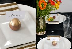 gold avocado seed place card