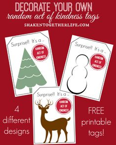 Printable {Decorate Your Own} Random Acts of Kindness Tags