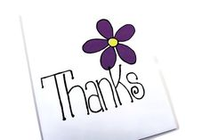 Thank You Card.  Thanks with  Large Flower.  Hand Drawn Card. on Etsy, $4.00