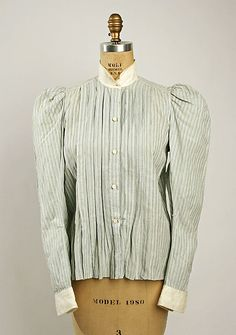 Striped blue cotton and linen shirtwaist with white collar and cuffs, American, 1890s.