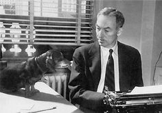 E. B. White, well known writer (Charlottes Web) and his companion Minnie, one of three Dachshunds