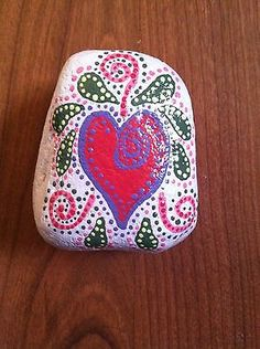 Pink Heart and Vines Hand Painted Rock | eBay