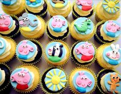 12 Fondant Theme Inspired Pepper Pig Cake/Cookie or by ECTOPPERS, $24.99 Peppa Pigs, Cupcakes Toppers, Inspiration Peppa, 3Rd Birthday, Bentley 3Rd, Cupcake Toppers, Theme Inspiration, Fondant Theme, 12 Fondant