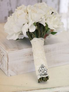 Silk Bride Bouquet Cream and White. loving this too. like the silk flowers idea - can keep them forever