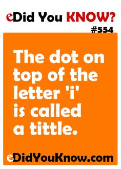The dot on top of the letter 'i' is called a tittle.