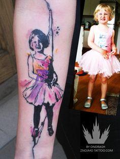 A nice change from the usual portrait tattoos, by Ondrash #Inkedmagazine #ballerina #tattoo #tattoos #inked #portrait #ink
