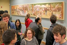 "Guests getting a first look at the newly unveiled Lucy Walker mural ""Brunswick, Maine"" @Mid Coast Hospital Walk-In Clinic"