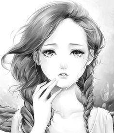 black and white anime, anim girl, white manga, black white, easy to draw anime, anime girls, anime art, anim art, easy anime drawings