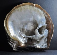 Beautiful Skulls Carved and Painted into Mother-of-Pearl