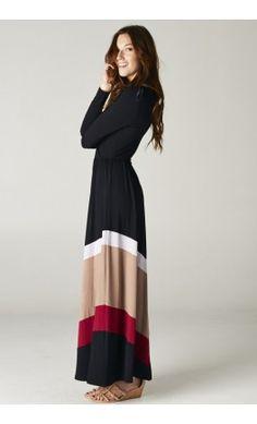 Women's color block chevron maxi dress! - Apostolic Clothing #modest #dresses