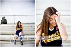 Perryville Softball player posing on the bleachers.  Another cool idea for softball-themed senior portraits is to use Softball Roses as props.  http://softballrose.com