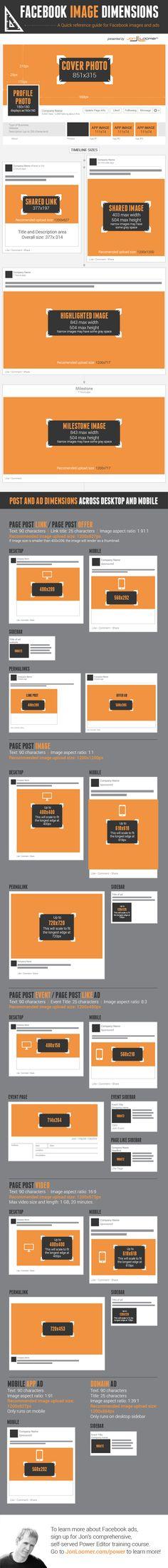 Infographic: Facebook image dimensions - via Inside Facebook