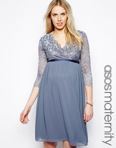 ASOS Maternity Exclusive Wrap Midi Dress In Lace And Chiffon