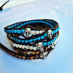 silver nuggets and skulls wrap bracelet, turquoise and tiger eye beads, similar to Chan Luu and Victoria Emerson bracelets shop at www.meanstreetsLA.com $59.00