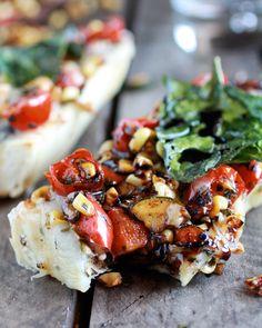 Simple Crispy Basil Caramelized Garden Vegetable + Fontina French Bread Pizza - Half Baked Harvest