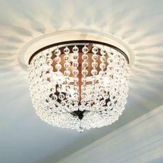"Margeaux Ceiling Mount Chandelier    Ballard Designs  Item: LM152  $249.00  Dimensions:  Overall: 10""H X 15 3/4"" Diameter"