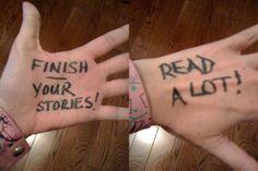 Writing Advice Written on Writers' Hands - Karin Lowachee