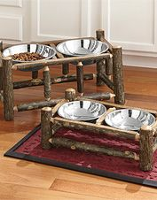 Our raised dog feeder is handcrafted from natural hardwood for a rustic look.