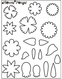 Crayola coloring page pattern for felt creations. Flower parts.