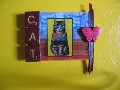 "retro kitsch art on 2 1/2 x 4"" wood. magnet"