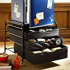 Dorm Fridge Cart. good idea, not from pb, but knockoff?