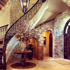 stairway, stone walls, foyer, entryway