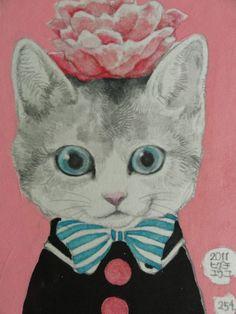 cat art, pink flowers, anim, art illustr, higuchi yuko