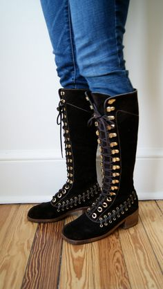 60s / 70s Knee High Boots. Vintage Leather Lace Up Boots. Suede Campus Boots. Boho Boots. Women's 7.5 / 8.. $98.00, via Etsy.