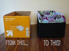 Upcycle your boxes for cute storage bins!!! Love this idea...about to have alot of diaper boxes again!