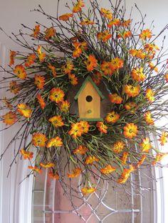 Spring Wreath, Country Wreath,  Summer Wreath,  Sunflower Wreath,  Wreath. $56.95, via Etsy.