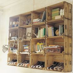 More crates as shelves.  Really like this idea for the potting room to give it a rustic, country look
