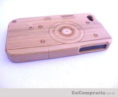Case câmera de bambu para iPhone 4