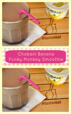 Banana Chobani Funky Monkey Smoothie:       1 6 oz. container Chobani 2% Banana Greek yogurt, frozen and cut or broken into chunks (see Note)      1 c milk (I used unsweetened vanilla almond milk)      1 T peanut butter      1 T cocoa powder      Optional: sugar, honey, Stevia, or sweetener of choice, to taste
