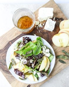 honeycrisp salad with crispy sage and maple vinaigrette I howsweeteats.com