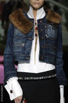 D Squared, Denim Jacket with fur collar