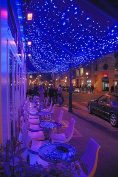 Beautiful cafe lights in Le Marais, Paris