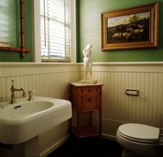 Love the  beadboard wainscoting and green.