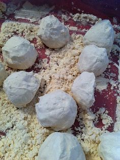 Cloud dough made with flour and baby oil.  It's supposed to be like moon dough.