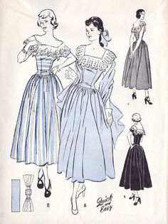 1950s Misses Summer Party Dress and Stole Prom